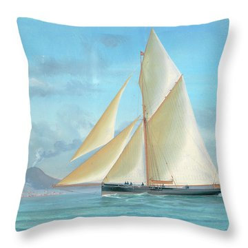 A Racing Yacht In The Bay Of Naples Throw Pillow