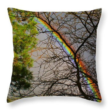 A Rainbow Tree Throw Pillow by Ben Upham III