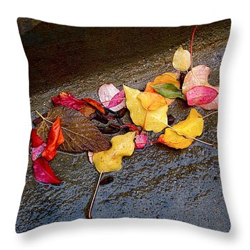 A Rainy Autumn Day In The City Throw Pillow by Rona Black
