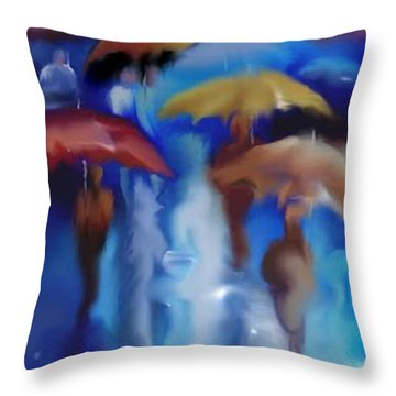 A Rainy Day In Paris Throw Pillow by Darren Cannell