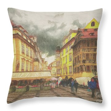 A Rainy Day In Prague Throw Pillow