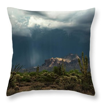 Throw Pillow featuring the photograph A Rainy Evening In The Superstitions  by Saija Lehtonen