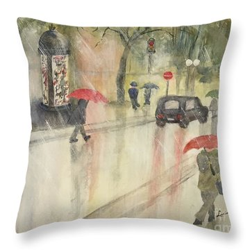 A Rainy Streetscene  Throw Pillow by Lucia Grilletto