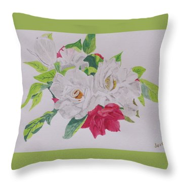 Throw Pillow featuring the painting A Rose Bouquet by Hilda and Jose Garrancho