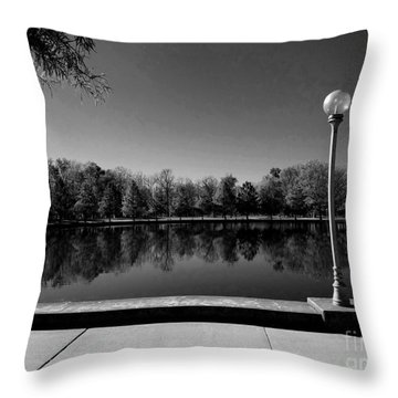 A Reflection Of Fall - Black And White Throw Pillow