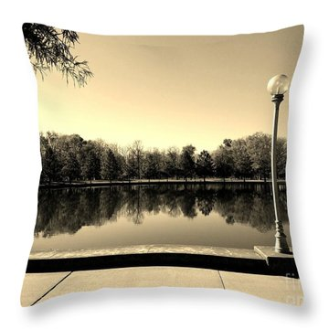 A Reflection Of Fall - Sepia Throw Pillow