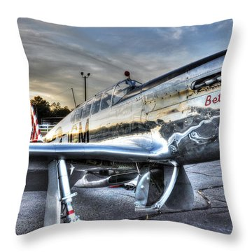 A Reflective Mustang Throw Pillow by David Collins