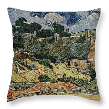 Throw Pillow featuring the digital art a replica of the landscape of Van Gogh by Pemaro