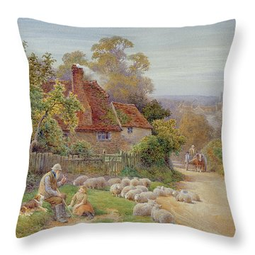 A Rest By The Way Throw Pillow by Charles James Adams