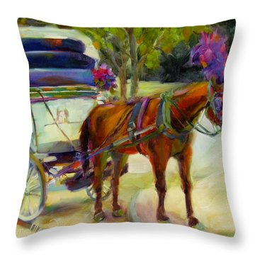 Throw Pillow featuring the painting A Ride Through Central Park by Chris Brandley