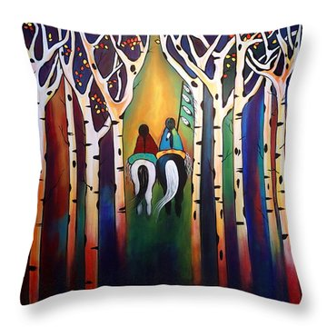 A Ride Through The Aspens Throw Pillow