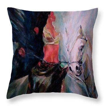 A Rider Throw Pillow by Khalid Saeed