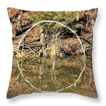 A Ring On The Pond In Fall Throw Pillow