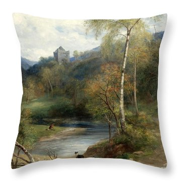 A River Landscape With Castle Beyond Throw Pillow