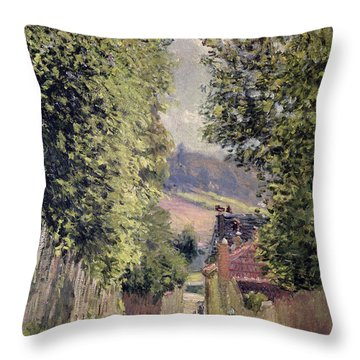 A Road In Louveciennes Throw Pillow by Alfred Sisley