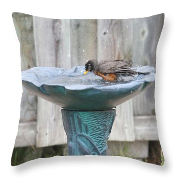 A Robin Bathing Throw Pillow