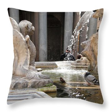 A Roman Bath Time Throw Pillow by Melinda Dare Benfield