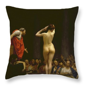 A Roman Slave Market, Jean Leon Gerome Throw Pillow
