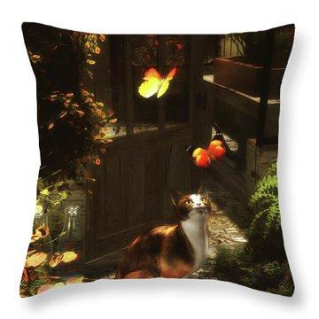 A Romantic Cat Loves Butterflies Throw Pillow