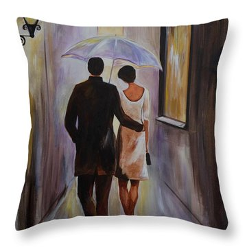 A Romantic Stroll Throw Pillow by Leslie Allen