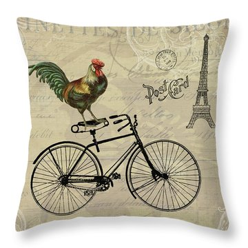 A Rooster In Paris Throw Pillow