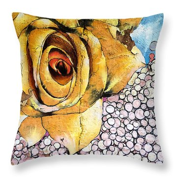 Throw Pillow featuring the mixed media A Rose By Any Other Name by Terry Rowe