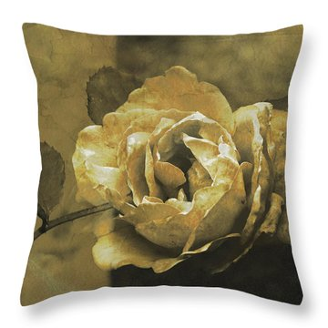 Throw Pillow featuring the digital art Vintage Effect Rose by Fine Art By Andrew David