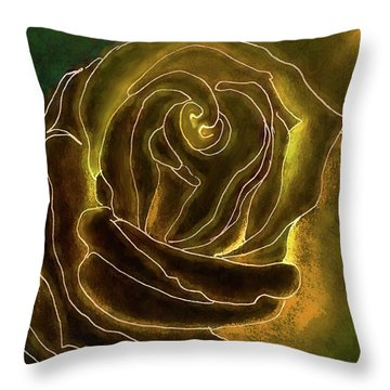 A Rose In Gold Throw Pillow