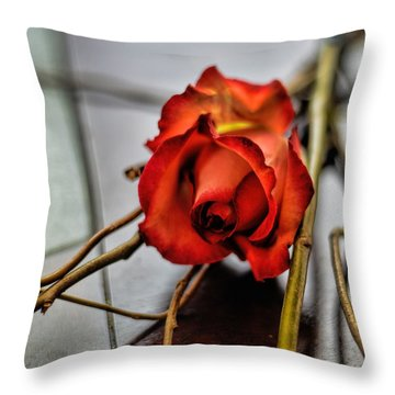 Throw Pillow featuring the photograph A Rose On Bamboo by Diana Mary Sharpton