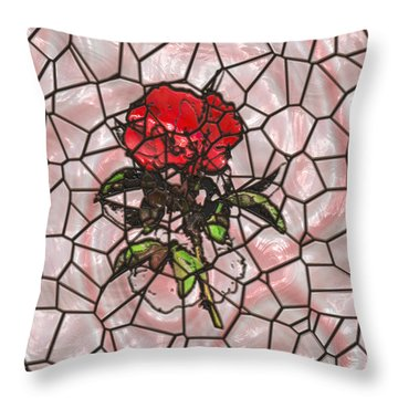 A Rose On Stained Glass Throw Pillow
