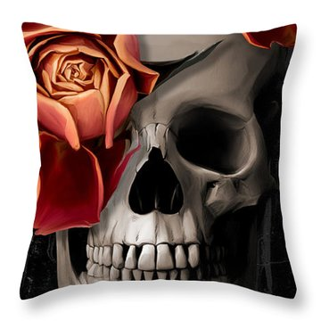 A Rose On The Skull Throw Pillow