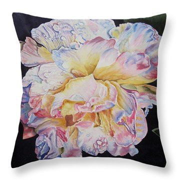 Throw Pillow featuring the painting A Rose by Teresa Beyer