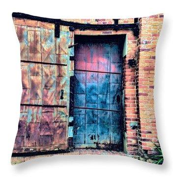 A Rusty Loading Dock Door Throw Pillow