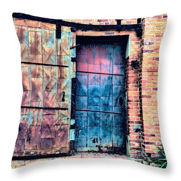 A Rusty Loading Dock Door Throw Pillow by Diana Mary Sharpton
