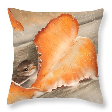 Throw Pillow featuring the painting A Safe Place by Veronica Minozzi