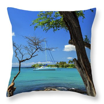 A Sailboat In Anaehoomalu Bay Throw Pillow by James Eddy