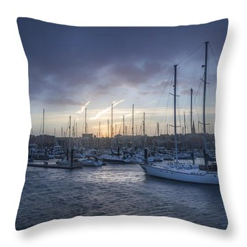 A Sailors Warning At Bangor Marina Throw Pillow