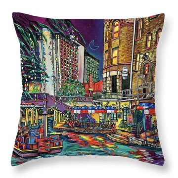 Throw Pillow featuring the painting A San Antonio Christmas by Patti Schermerhorn