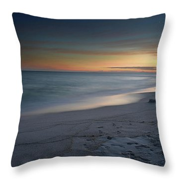 Throw Pillow featuring the photograph A Sandy Shoreline At Sunset by Renee Hardison