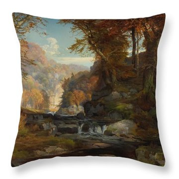 A Scene On The Tohickon Creek Throw Pillow by Thomas Moran