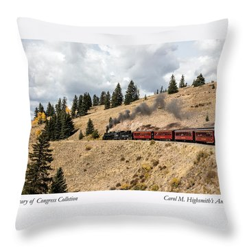Throw Pillow featuring the photograph A Scenic Railroad Steam Train, Near Antonito In Conejos County In Colorado by Carol M Highsmith