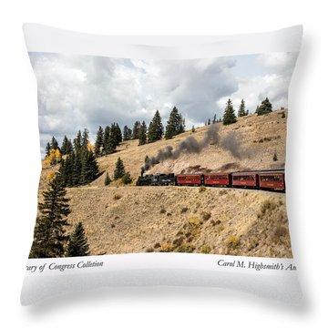 A Scenic Railroad Steam Train, Near Antonito In Conejos County In Colorado Throw Pillow