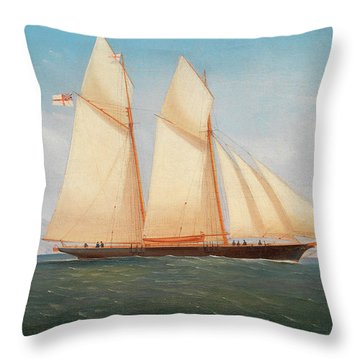 A Schooner Of The Royal Yacht Squadron Throw Pillow