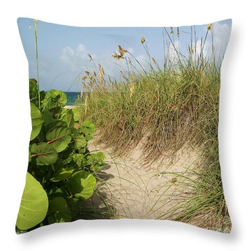 Throw Pillow featuring the photograph A Sea Grape Welcome by Michelle Wiarda