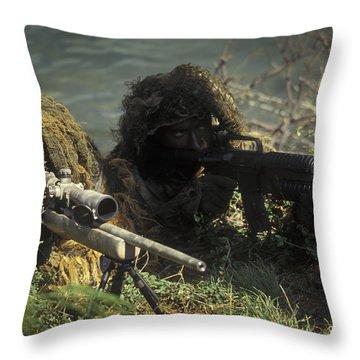 A Seal Sniper Swim Pair Set Up An Throw Pillow by Michael Wood