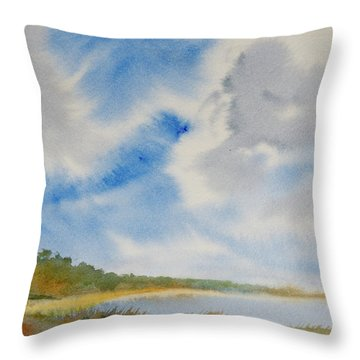 A Secluded Inlet Beneath Billowing Clouds Throw Pillow