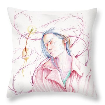Throw Pillow featuring the drawing A Sower's Nightmare by William Hart McNichols