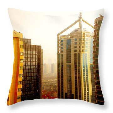 A Shanghai Sunset Throw Pillow by Christine Till