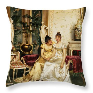 A Shared Confidence Throw Pillow by Joseph Frederick Charles Soulacroix
