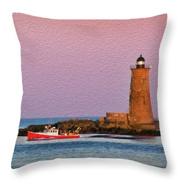 A Ship Passes The Super Moon And Whaleback Throw Pillow